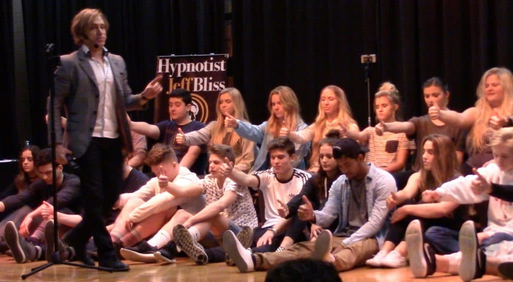 Students of Hillcrest High school during a hypnosis show LDS church in Sandy, UT.